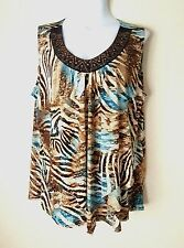 DRESS BARN WOMEN'S BROWN TURQUOISE EMBELLISHED SLEEVELESS TOP PLUS SIZE 18/20