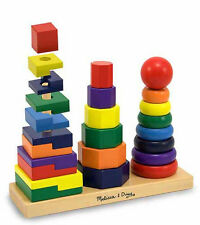 Melissa & Doug Geometric Stacker Wooden Toddler Toy #567 #0567 NEW