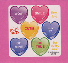 90 Candy Hearts Valentine's Day Mini Stickers - Party Favors