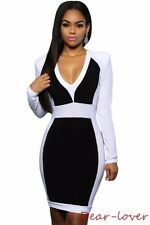 Women Color sexy with Padded Shoulder Evening Cocktail Bodycon Midi Dress