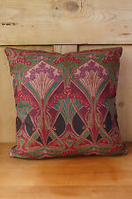 Liberty Of London Ianthe Fabric Cushion Cover Green Linen and Velvet