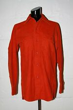 VTG Woolrich Bright Orange Chamois Button Front Hunting Casual Shirt Sz S NICE