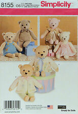 "Simplicity 8155 Sewing PATTERN for 21.5"" Stuffed BEAR with CLOTHES 3 Outfits NEW"