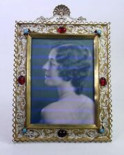 Large Antique French Bronze Jeweled Stone Rhinestone Enamel Picture Photo Frame