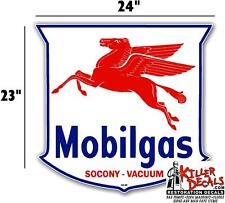 "(MOBI-4) 24"" MOBILGAS MOBIL PUMP GASOLINE OIL DECAL  1948-55"