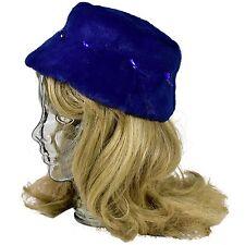 1940's Vintage Women's S Cobalt Blue Fur Pelt Embellished Bucket Hat Jewels