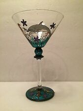 SEAS WORLD MARTINI HAND PAINTED OCEAN FISH GLASS DOLPHIN SEA HORSE