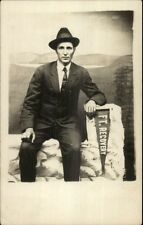 Man Posing w/ Ft. Recovery Pennant c1910 Real Photo Postcard
