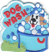"""""""DOG WASH"""" PATCH - DOGS - PETS - PUPPIES -LOVE / Iron On Embroidered Applique"""