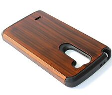 For LG G3 Stylus D690 - HARD TPU GUMMY RUBBER HYBRID ARMOR CASE COVER BROWN WOOD