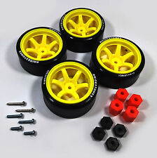 4PCS 1/10 RC Rims Speed Racing Car Tires Drifting Wheel Modified Parts Lime