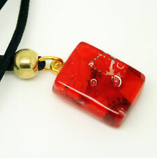 Red Rectangular Murano Glass Venetian Pendant Necklace