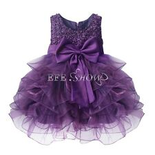 Baby Girl Flower Wedding Party Christening Gown Formal Pageant Ruffle Tutu Dress