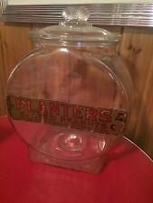 Planters Peanuts Pennant 5 Cent Peanuts Clear Glass Counter Jar Mr Peanut w/ Lid