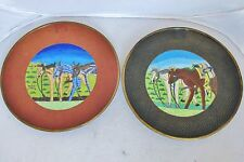 """2 Vintage Chinese Cloisonne Plates with Horses ~ Brick Red & Black  (8.6"""" long)"""