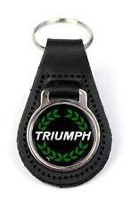 Triumph Green Wreath Logo Quality Black Leather Keyring