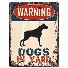 PP2355 WARNING DOGS IN YARD Plate Rustic Chic Sign Home Gate Door Decor Sign
