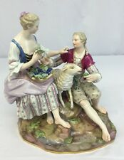 Gorgeous Large Antique Porcelain Meissen Couple Figures Feeding A Sheep
