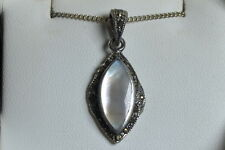 "BNIB stereling silver white mother of pearl and marcasite pendant 18"" chain sale"