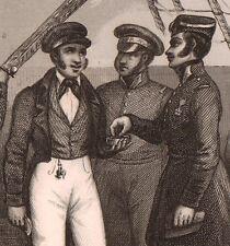 Gravure XIXe Sou Officier Marine à Voile Marin Vaisseau Navy 1848