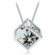 Silver Hearts and Arrows Cube Pendant Lovely White Gold GP CZ Women's Necklace
