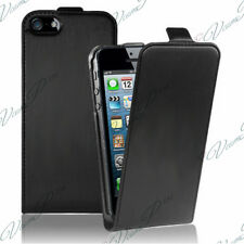 ETUI COQUE HOUSSE PU NOIR STYLE CUIR VERITABLE APPLE IPHONE 5SE/ IPHONE SE