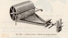 INDUSTRIE CARDE A LAINE PETITE IMAGE 1875 INDUSTRY WOOL MACHINE OLD PRINT