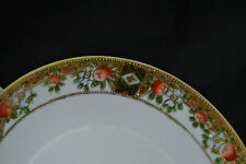 "Nippon Hand Painted 6 3/4"" Three Footed Plate Raised Gold Moriage Peaches"