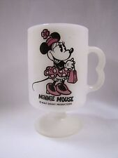Vintage Minnie Mouse Milk Glass Footed Mug White Glass with Handle