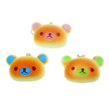 1PC Cute Bear Squishy Bun Simulation Bread Phone Straps Keychains Slow Rising