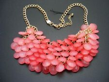 $28 Carole Inc Beaded Waterfall Bib Statement Necklace Opaque Pink Faceted Beads