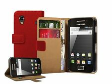 RED Wallet Leather Case Cover For Samsung Galaxy ACE GT-S5830 / S5830i