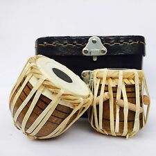 BEAUTIFUL SET OF TWO TABLA WITH LEATHER BOX GIFT ITEM HOME DECOR ITEM SHOW PIECE