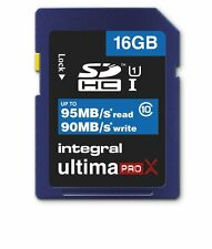 Integral INSDH16G10-95/90U1 16GB Ultimapro X 95MB-90MB Class 10 SDHC Memory Card