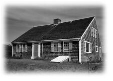 Cape Cod colonial home plans, one story plan w/ attic bedrooms, shingled walls