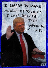 oath e9Art ACEO Trump Political Pop Art Original Collage Painting Humor Impeach