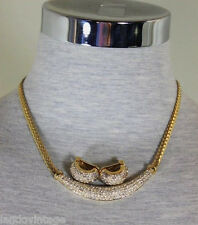 Vintage Christian DIOR Gold Diamante Choker Earrings Set Clip on Necklace