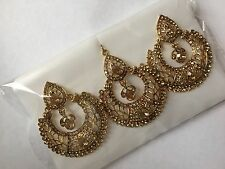 New Bollywood Indian Costume Jewelry  Earring Tikka Set Bronze Gold Stones...