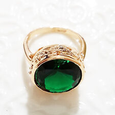 Gorgeous 5 Ct Green Emerald Round Ring Engagement Wedding Size 6.5 18K A143