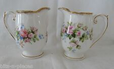 Vintage MOSS ROSE England ROSLYN CHINA 2 Cream Pitchers pink roses gold rim