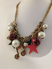 BETSY JOHNSON SIGNED PINK BLACK COSTUME NECKLACE STAR MUSICAL NOTE FAUX PEARLS