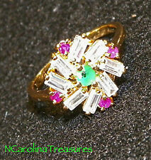 18K YELLOW GOLD FILLED RING GORGEOUS EMERALD RUBY TOPAZ GEMSTONES SIZE 7.5