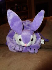 Bunny Purple Stuffed Plush Easter Goody Bag Drawstring Gift Tote