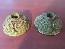 Green Antique Cast-Iron Candlestick Holders Nice