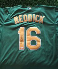 JOSH REDDICK OAKLAND ATHLETICS STUD Green SIGNED Jersey JSA/COA