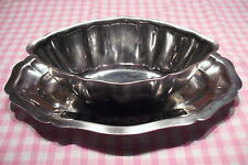 RETRO SERVING DISH & PLATE COMBINED, FRENCH STAINLESS STEEL BUFFET SNACKS SAUCES