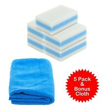 5 pack Melamine Stain Eraser Sponge Magic & Bonus Microfiber Non-Toxic Cleaner