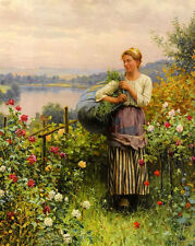 Oil painting daniel ridgway knight - the rose garden landscape with lady canvas