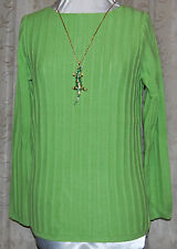JESSICA HOLBROOK EASY CARE SWEATER W/VERTICAL KNIT STRIPES BOATNECK LIME SM/MED