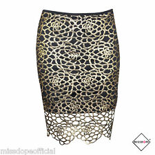 Gold Hollow High Waist Skirt New Black Party Dress Size 8 Small Womens Ladies UK